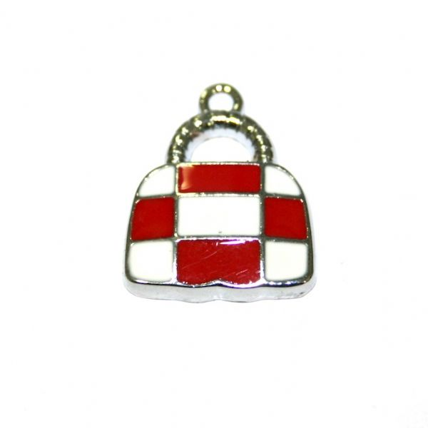 1 x 21*16mm rhodium plated cute handbag with red/white checks enamel charm - SD03 - CHE1096